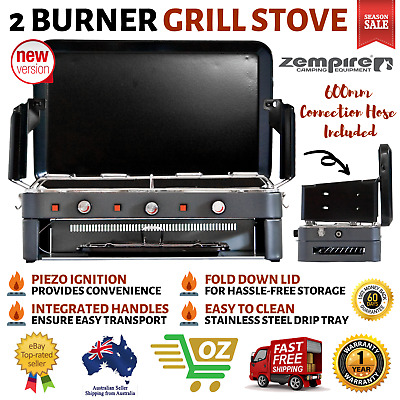 AU193.91 • Buy Deluxe 2 Burner Grill Stove Grill Portable Outdoor Cooking Gas Camping Kitchen