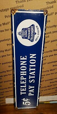 $ CDN1.25 • Buy PUBLIC TELEPHONE BELL SYSTEM Porcelain Sign 5 Cent Vintage Pay Phone Booth