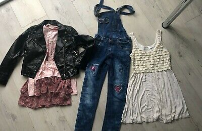 Bundle Girls Clothes Age 12 13 Dresses Jeans Leather Jacket Black Dungarees Pink • 28£