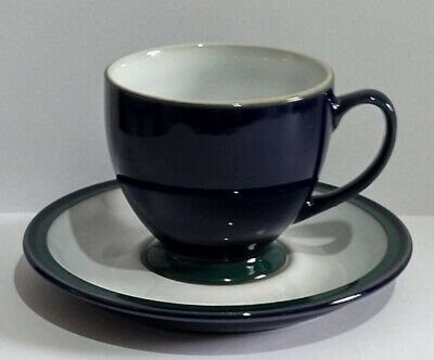 Denby Cup & Saucer - Blue, White & Green - Possibly Denby Metz - Please Rd • 12.95£