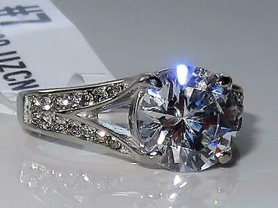 Ladies Silver Ring Solitaire Accents Cz 3 Carat Stainless Steel Engagement 3020  • 15.99£
