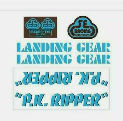 SE Racing PK Ripper Decal Set In Baby Blue With Brown Shadow - Old School Bmx • 44.99£