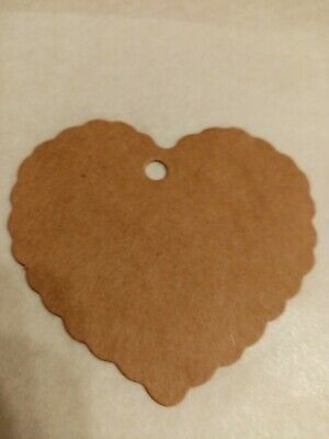20 Kraft Paper Gift Tags Scallop Heart Luggage Blank + Strings • 2£