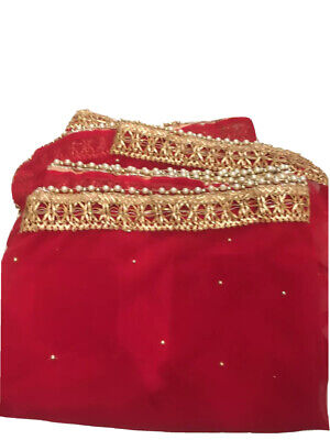 £17.99 • Buy Fancy Chiffon Dupatta / Scarf With Gold Gota Patti - Lace And Pearl  Red 220X110