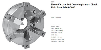 AU1295.10 • Buy Bison 6  6 Jaw Self Centering Manual Lathe Chuck 7-869-0600 (LOC1913B)