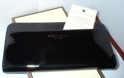Aspinal Of London Large Black Patent Leather Continental Purse/wallet Clutch  • 85£