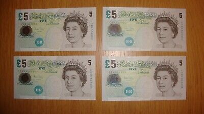 4 Old Bank Of England Five Pound Notes  With Consecutive Numbers. Unc • 35£