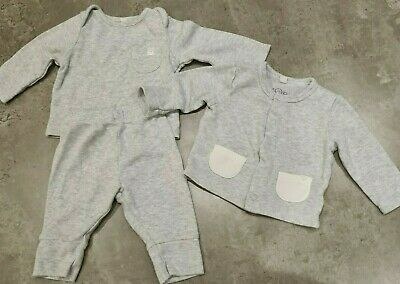Mori Baby Suit Top And Bottom 0-3 Months Cardigan New Born (to 3 Months) Grey • 6.99£