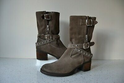£38 • Buy Bertie  Rockafella  Grey Suede Leather/leather Lined Ankle Boots Uk 4 Rrp £110