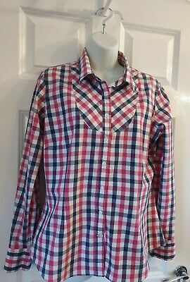 Crew Clothing Pink Check Cotton Shirt Tailored Fit Size 14  • 8£
