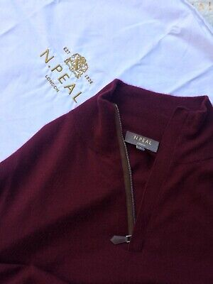 N Peal Cashmere Jumper, Bordeaux Colour, Size L • 179£