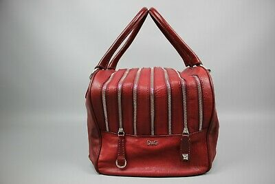 Dolce&Gabbana Authentic D&G Lily Red Leather Multi 7 Zip Bag Size Large • 283.74£