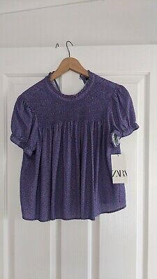 AU11 • Buy Zara Top Purple Smocked Capped Sleeves  Bohemian Summer Size 8