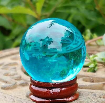 Blue Glass Crystal Ball Wood Stand 40mm Divination Gazing Sphere Scrying Orb • 2.88£