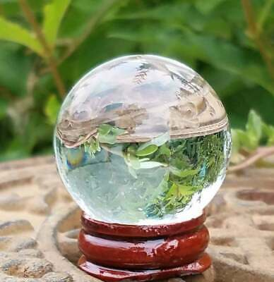 Clear Glass Crystal Ball Wood Stand 50mm Divination Gazing Sphere Scrying Orb • 5.88£
