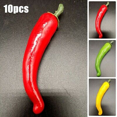 10x Large Artificial Chillies-Artificial Fruit Vegetables Peppers 3 Colors • 4.82£