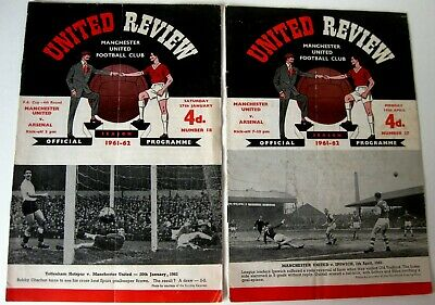 Manchester United V Arsenal 1961/62 Div. 1- FA. Cup R4. - 2 Programmes. • 1.99£