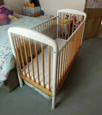 Mothercare Traditional Dropside Wooden Cot, With Coolmax Foam Mattress • 5£