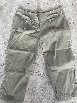 Evie Size 14 Khaki Cropped 3/4 Length Chino Trousers • 2£