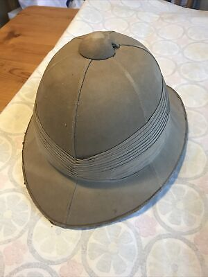 Vintage Original Khaki Pith Helmet Made By Humphreys And Crook, Leather Strap • 45£