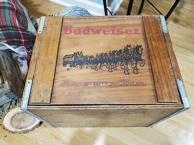 $ CDN125.79 • Buy Budweiser Vintage Wood Crate Album Record Storage With Clydesdales