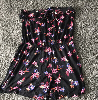 Black Summer Colourful Flower Print Frilly Playsuit Romper. George Size 16 • 2£
