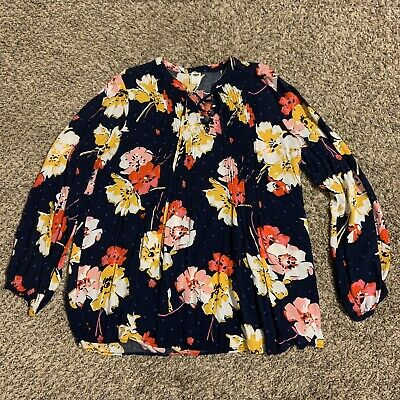 Old Navy Women's Blue Floral Ruffle Tunic Lace Up Tie String Top Size Medium • 7.24£