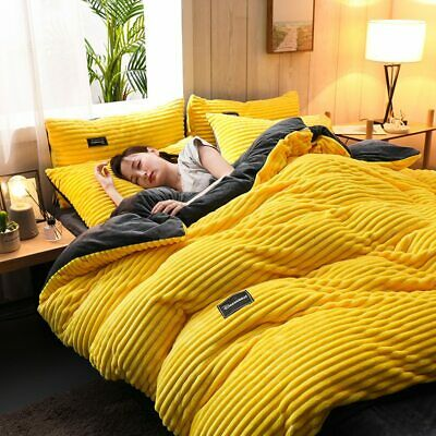 AU118.63 • Buy Dreamboat AB Side Thicken Corduroy Fleece Bedding Set Full Size Duvet Cover New