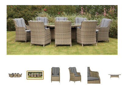 Luxury High-back  Eight Seater Oval Garden Furniture Set (June Delivery) • 2,895£
