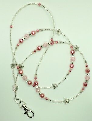 Pink Butterfly  Glass Beads ID Lanyard Badge Holder Necklace Handmade • 7.99£
