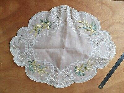 Vintage Embroidery Dressing Table Mat Yellow And Green Lily Of The Valley  Sheer • 3.40£