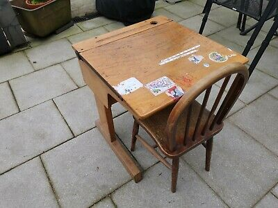 Vintage Old School Single Wooden Desk With Chair • 25£