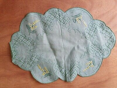 Vintage Embroidery Dressing Table Mat Green Linen Lily Of The Valley Yellow  • 2.55£