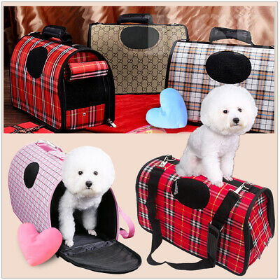 S Brown Pet Dog Cat Puppy Portable Travel Carry Carrier Tote Cage Crate + Strap • 0.11£