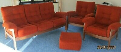 G Plan Vintage 3 Piece Suite - 3 Seater Sofa & 2 Matching Armchairs + Foot Stool • 350£