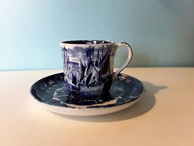 Wedgwood Ferrara - Blue & White - 1 Coffee Cup Or Can - 6 Cm Tall Ships Vintage • 5£