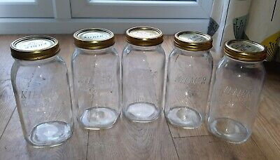 Vintage 5 X Large KILNER GLASS Storage JARS Containers With Screw Lids • 40£