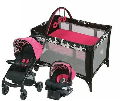 Graco Baby Stroller Travel System With Car Seat Infant Playard Set Girls - Pink • 249.64£