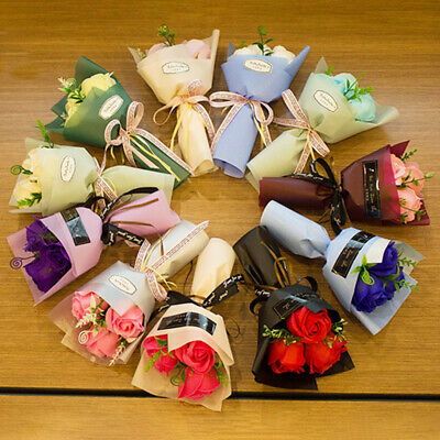 AU5.31 • Buy 3 Heads Artificial Rose Bouquet Hand Holding Soap Flower Valentine Day's Gift