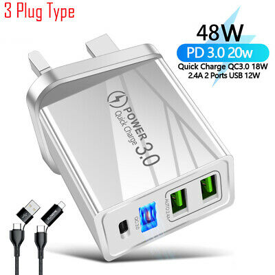 AU9.05 • Buy Phone Fast Wall Charger 20W PD USB-C QC3.0 Dual Fast Charging Adapter 4 Plug
