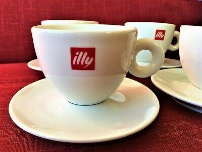 4 X Illy Cappuccino Cup And Saucer Made In Ipa Italy • 33.99£