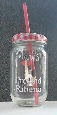 Personalised Drinking Jars With Lid And Straw, Cocktail, Wine Glass, Mason Jar • 5.50£