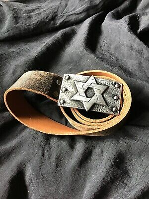 Brown Battered Look Belt Big Silver Rectangle Buckle With Star On Approx 114cm  • 15£