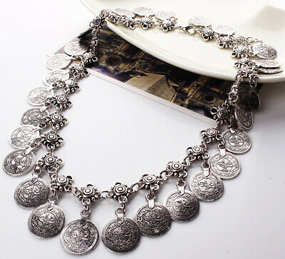 £5.29 • Buy Vintage Style Silver Coins Necklace Collar Statement Fashion Women Jewellery
