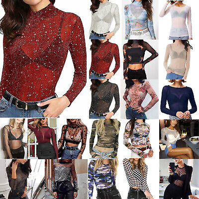 Ladies Sexy Mesh Sheer Crop Long Sleeve T-shirt Lace Blouse Party Clubwear Tops! • 9.59£