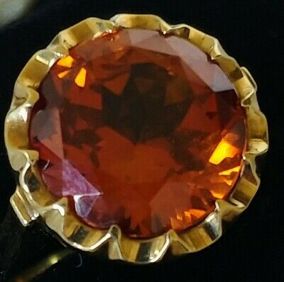 AU475 • Buy Heavy Vintage 9ct Yellow Gold Rare Imperial TOPAZ Statement Ring ~ Size P