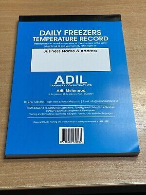 £6.99 • Buy Daily Freezer Temperature Record Log Book ONE Year Food Hygiene HACCP Restaurant