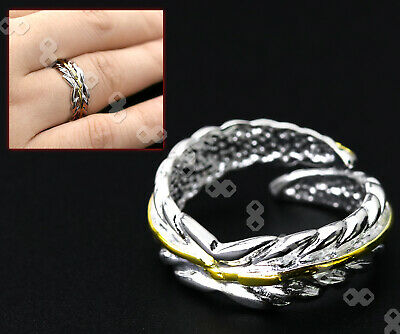 Adjustable FEATHER RING Thumb Wrap Opening  Ring Silver Plated • 4.11£