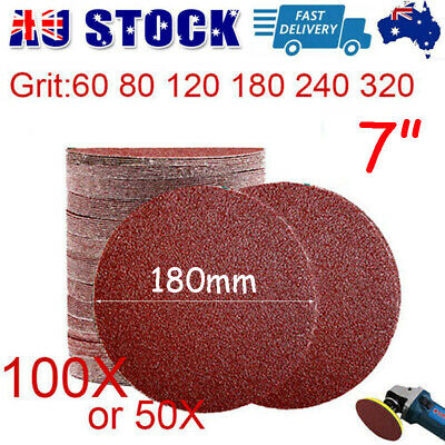 AU27.89 • Buy 180mm/ 7  Plaster Drywall Sanding Discs Pads Hook Loop 60-320 / Mix Grit 50/100X
