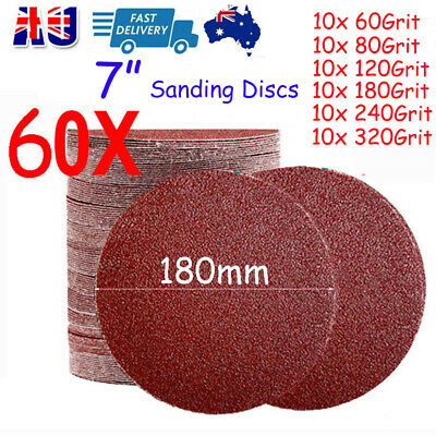 AU28.89 • Buy 60X 180mm Sanding Discs 7  Inch Sandpaper Pads Hook And Loop 60 80 120-320 Grit